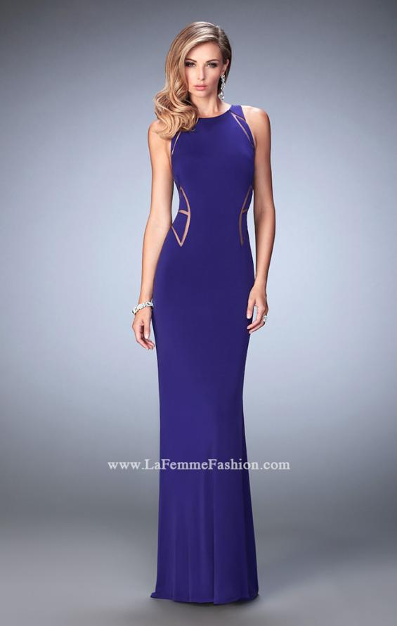 Picture of: Panel Design Long Jersey Prom Dress in Purple, Style: 22274, Detail Picture 4