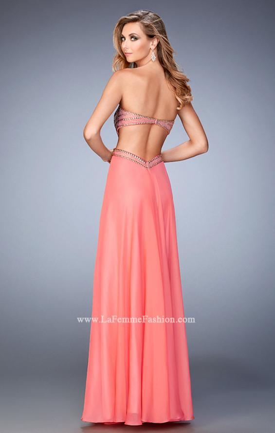 Picture of: Chiffon Prom Dress with Cut Outs and Gold Stud Detail in Orange, Style: 22285, Back Picture