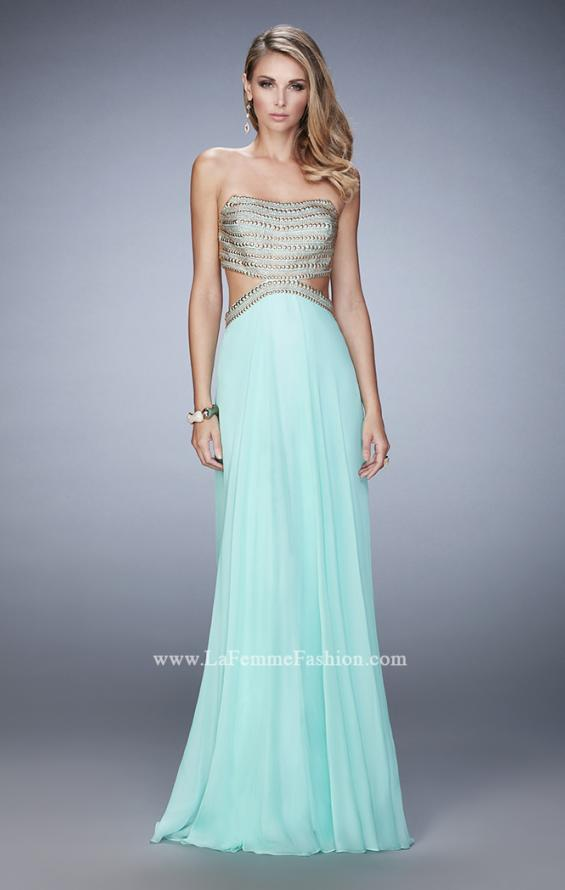 Picture of: Chiffon Prom Dress with Cut Outs and Gold Stud Detail in Blue, Style: 22285, Detail Picture 1