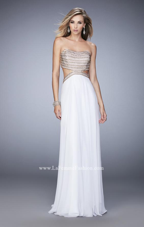 Picture of: Chiffon Prom Dress with Cut Outs and Gold Stud Detail in White, Style: 22285, Detail Picture 2