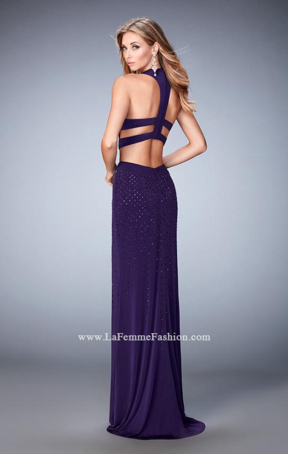 Picture of: Jersey Prom Dress with Strappy Back, Cut Outs, and Train, Style: 22287, Back Picture