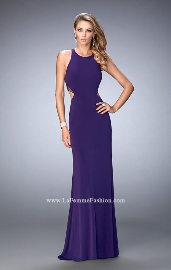 Picture of: Elegant Prom Dress with Sheer Back and Rhinestones in Purple, Style: 22288, Back Picture