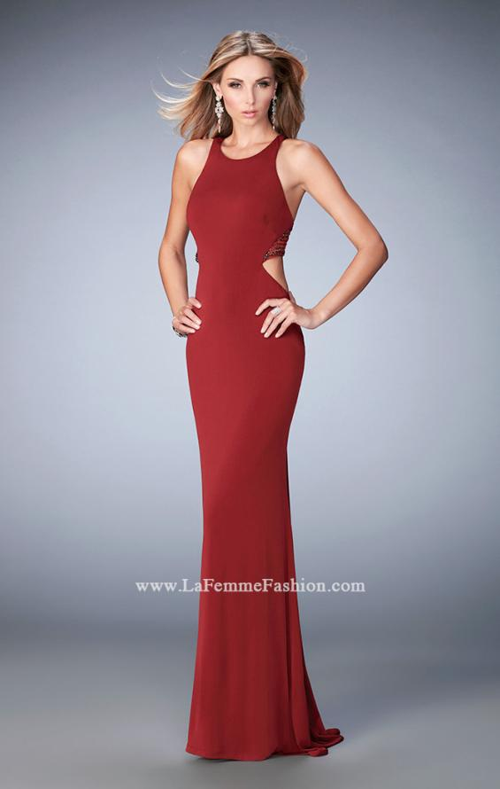 Picture of: Elegant Prom Dress with Sheer Back and Rhinestones in Red, Style: 22288, Detail Picture 1