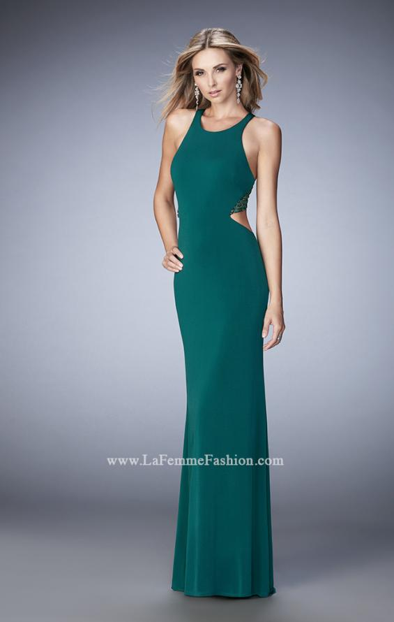 Picture of: Elegant Prom Dress with Sheer Back and Rhinestones in Green, Style: 22288, Detail Picture 3