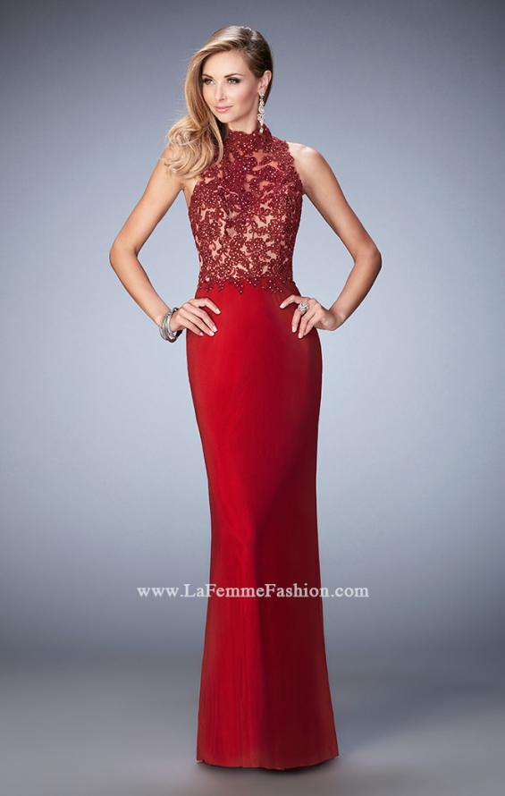 Picture of: Racer Beck Net Prom Dress with Lace Detail and Train in Red, Style: 22291, Main Picture