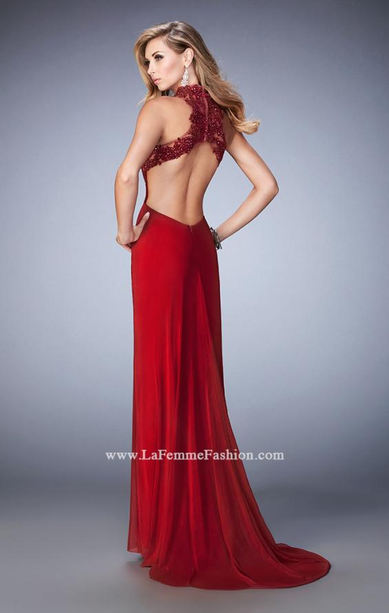 Picture of: Racer Beck Net Prom Dress with Lace Detail and Train in Red, Style: 22291, Back Picture