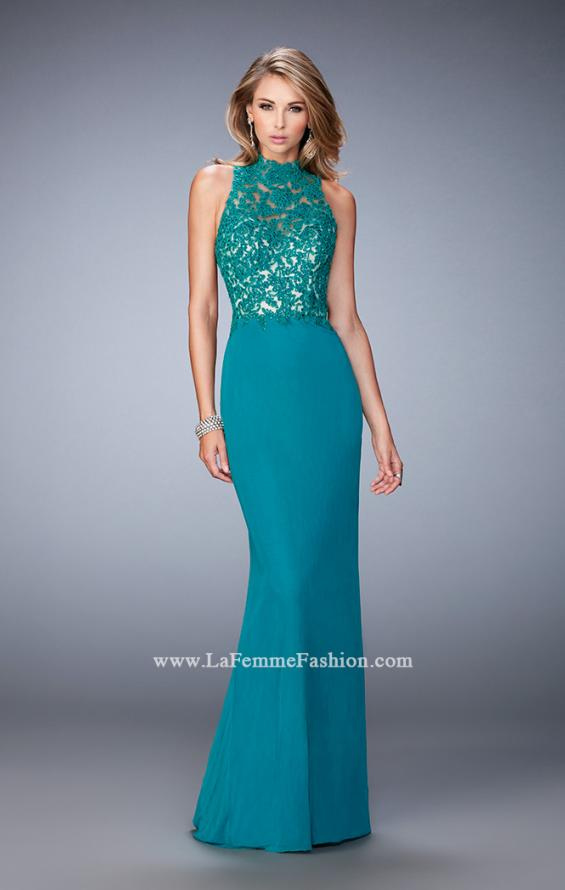 Picture of: Racer Beck Net Prom Dress with Lace Detail and Train in Green, Style: 22291, Detail Picture 1