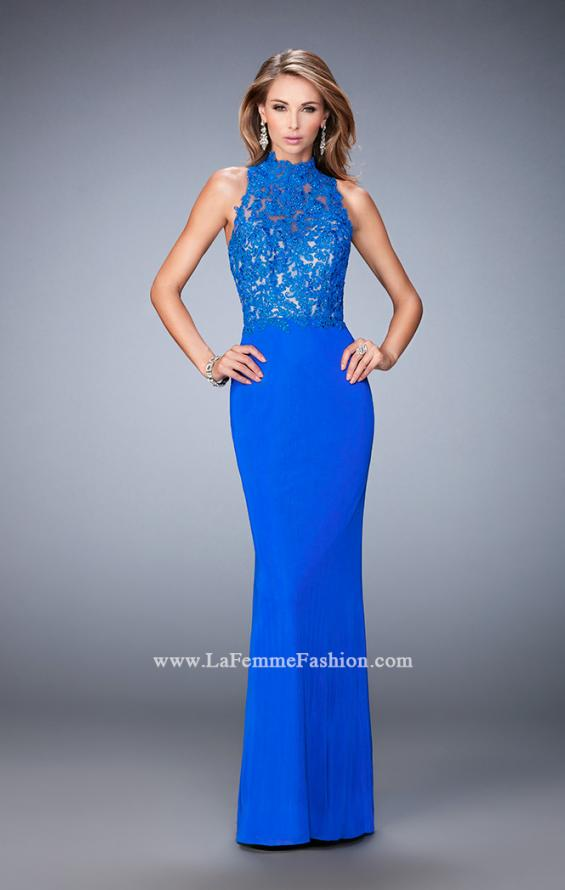 Picture of: Racer Beck Net Prom Dress with Lace Detail and Train in Blue, Style: 22291, Detail Picture 2