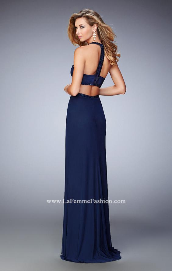 Picture of: Embellished Long Prom Gown with Open Sides in Blue, Style: 22292, Back Picture