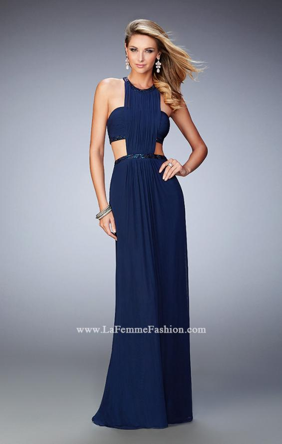 Picture of: Embellished Long Prom Gown with Open Sides in Blue, Style: 22292, Detail Picture 1
