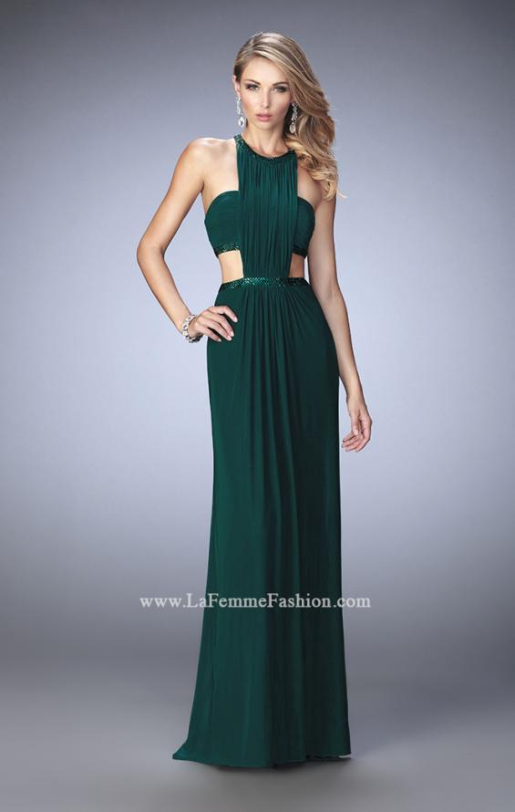 Picture of: Embellished Long Prom Gown with Open Sides in Green, Style: 22292, Detail Picture 3