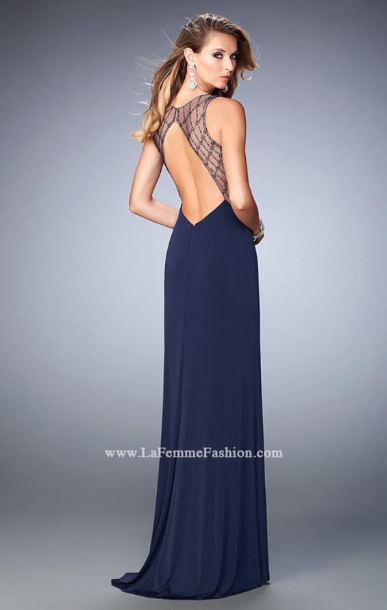 Picture of: Glam V Neckline Prom Dress with Sheer Detail and Beads in Blue, Style: 22296, Back Picture
