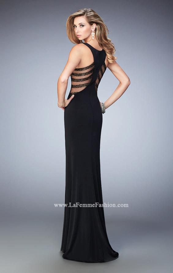 Picture of: Embellished Prom Gown with Sheer Sides in Black, Style: 22299, Back Picture