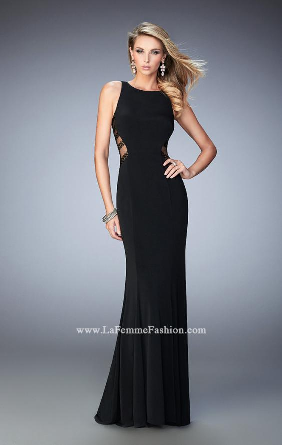 Picture of: Embellished Prom Gown with Sheer Sides in Black, Style: 22299, Detail Picture 1