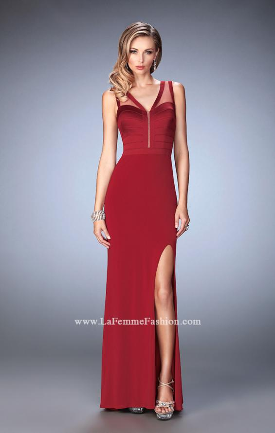 Picture of: V Neckline Jersey Gown with Satin Bodice and Sheer Back, Style: 22301, Main Picture