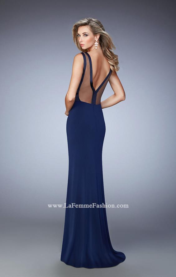 Picture of: V Neckline Jersey Gown with Satin Bodice and Sheer Back, Style: 22301, Back Picture