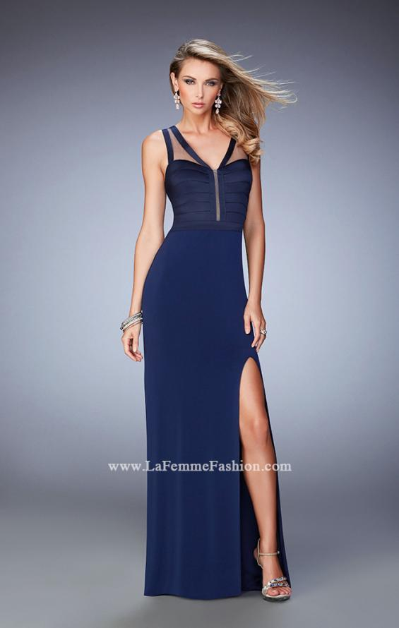 Picture of: V Neckline Jersey Gown with Satin Bodice and Sheer Back, Style: 22301, Detail Picture 1