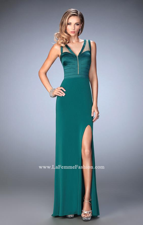 Picture of: V Neckline Jersey Gown with Satin Bodice and Sheer Back, Style: 22301, Detail Picture 2
