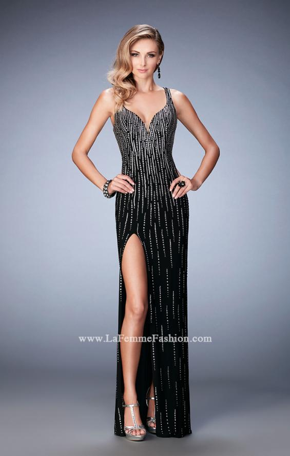 Picture of: Open Back Long Prom Dress with Side Leg Slit in Black, Style: 22305, Main Picture