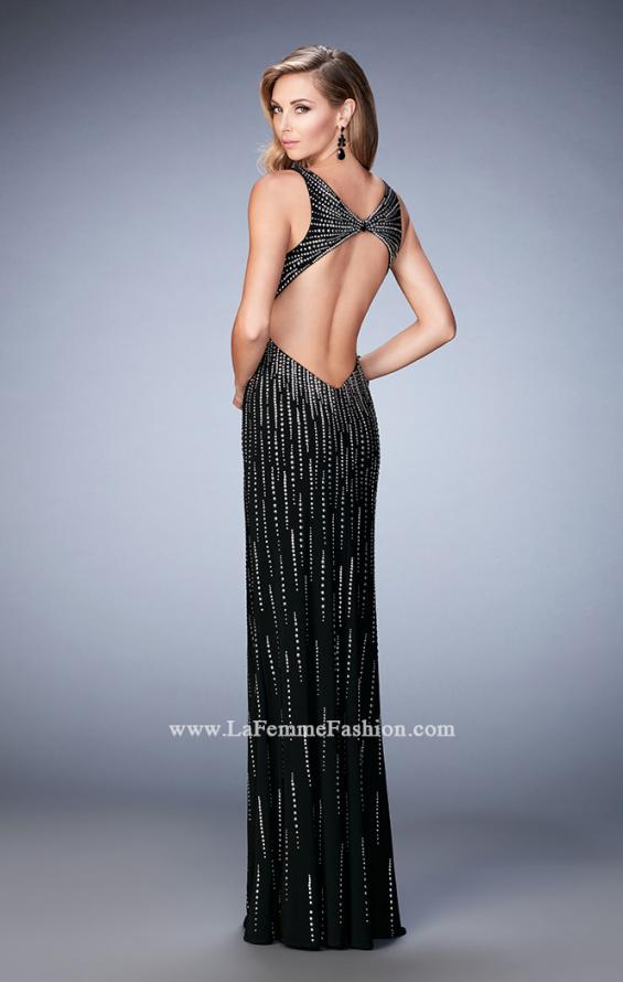Picture of: Open Back Long Prom Dress with Side Leg Slit in Black, Style: 22305, Back Picture
