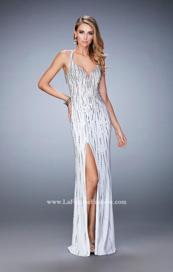 Picture of: Open Back Long Prom Dress with Side Leg Slit in White, Style: 22305, Detail Picture 1