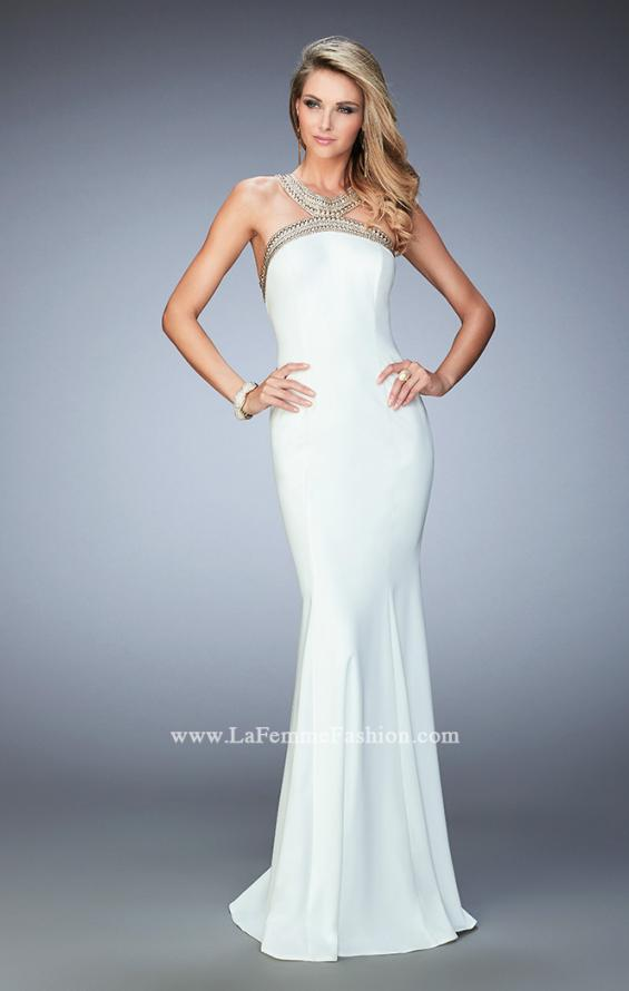 Picture of: Long Open Back Jersey Prom Dress with Gold Stud Detail in White, Style: 22307, Main Picture