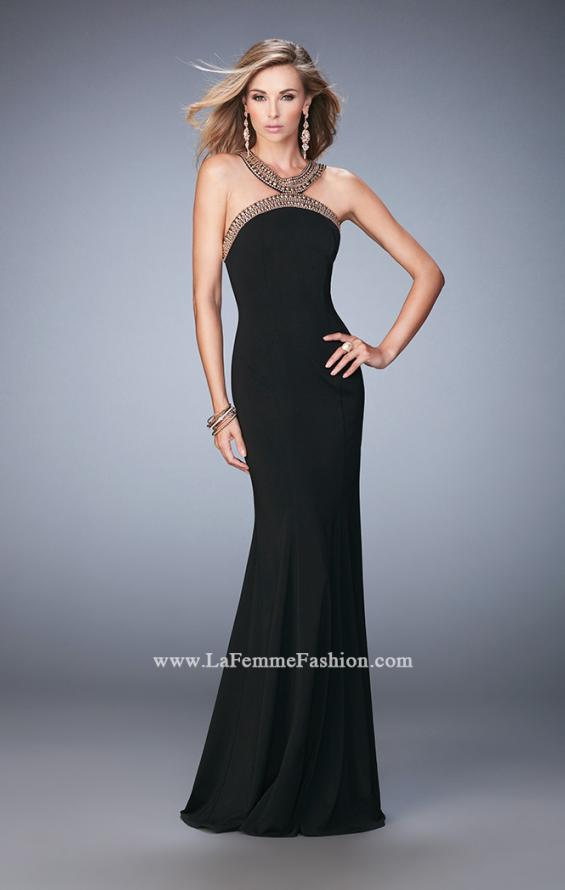 Picture of: Long Open Back Jersey Prom Dress with Gold Stud Detail in Black, Style: 22307, Detail Picture 1