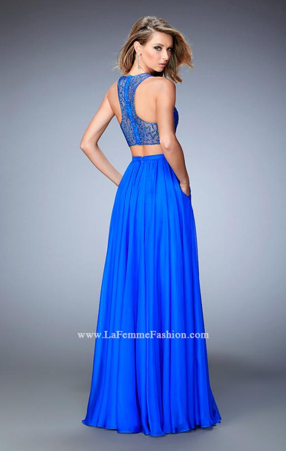 Picture of: Two Piece Chiffon Gown with Illusion Neckline and Pockets in Blue, Style: 22308, Back Picture