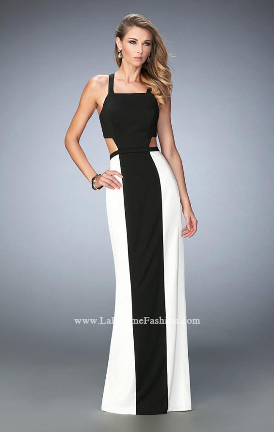 Picture of: Open Back Jersey Gown with Side Cut Outs and Slit in Black, Style: 22310, Main Picture