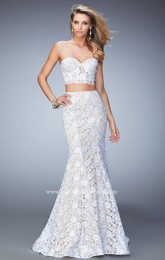 Picture of: Two Piece Lace Gown with Mermaid Skirt and Corset Top in White, Style: 22311, Main Picture