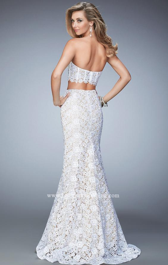 Picture of: Two Piece Lace Gown with Mermaid Skirt and Corset Top in White, Style: 22311, Back Picture