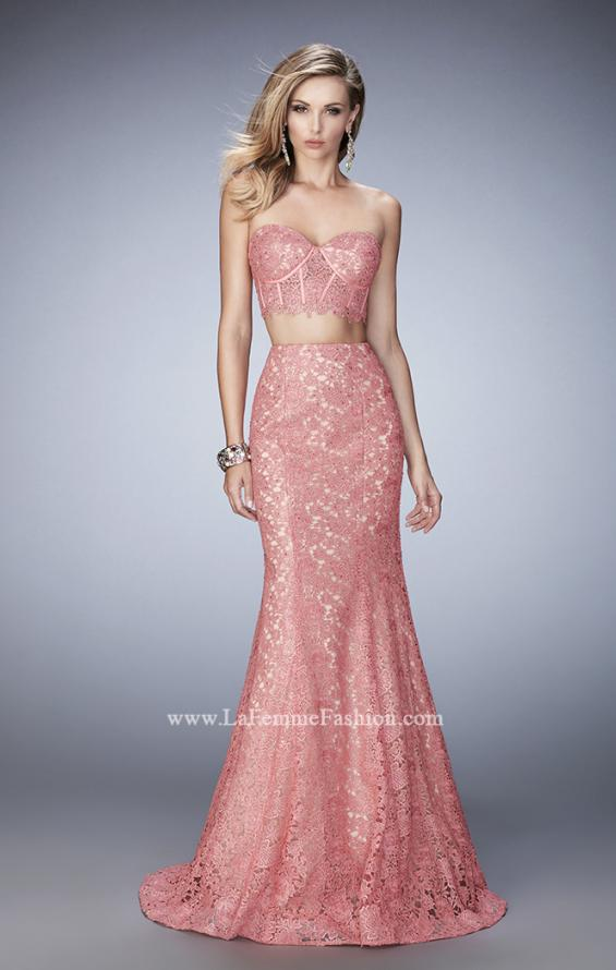 Picture of: Two Piece Lace Gown with Mermaid Skirt and Corset Top in Orange, Style: 22311, Detail Picture 1