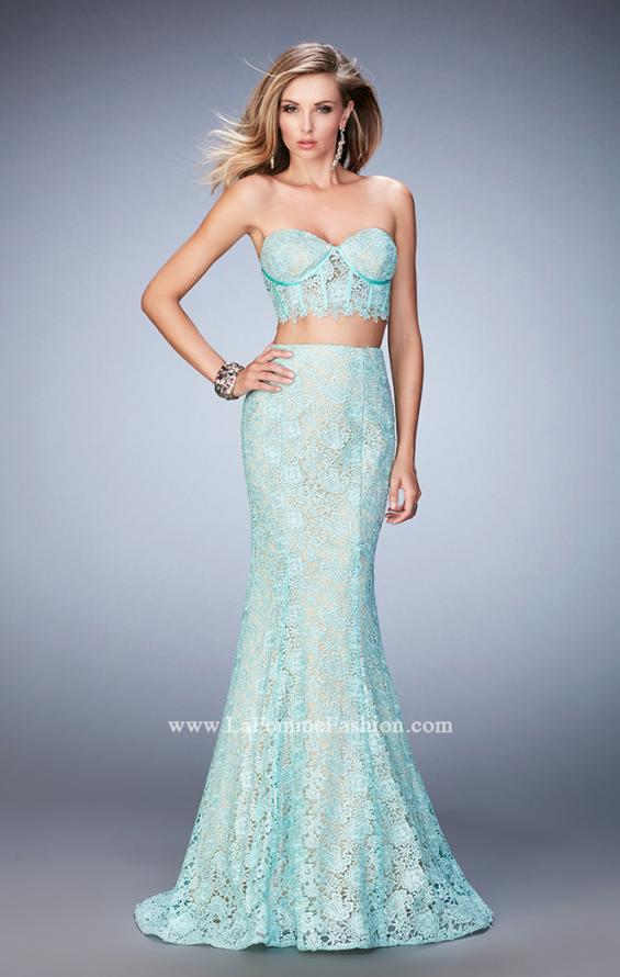 Picture of: Two Piece Lace Gown with Mermaid Skirt and Corset Top in Blue, Style: 22311, Detail Picture 2