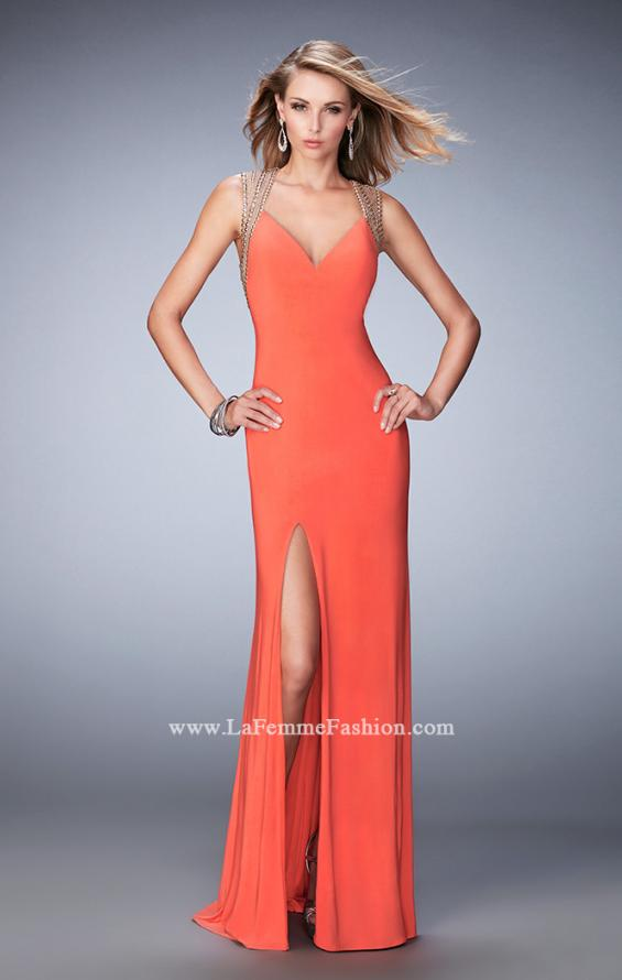 Picture of: V Neckline Prom Dress with Gold Stud Detail and Slit in Orange, Style: 22312, Main Picture