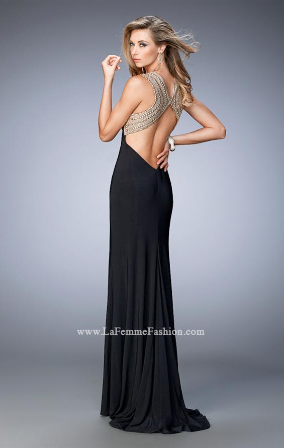 Picture of: V Neckline Prom Dress with Gold Stud Detail and Slit in Black, Style: 22312, Back Picture