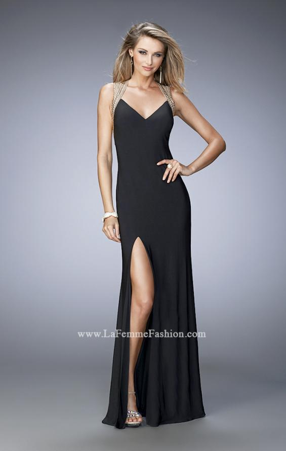 Picture of: V Neckline Prom Dress with Gold Stud Detail and Slit in Black, Style: 22312, Detail Picture 1