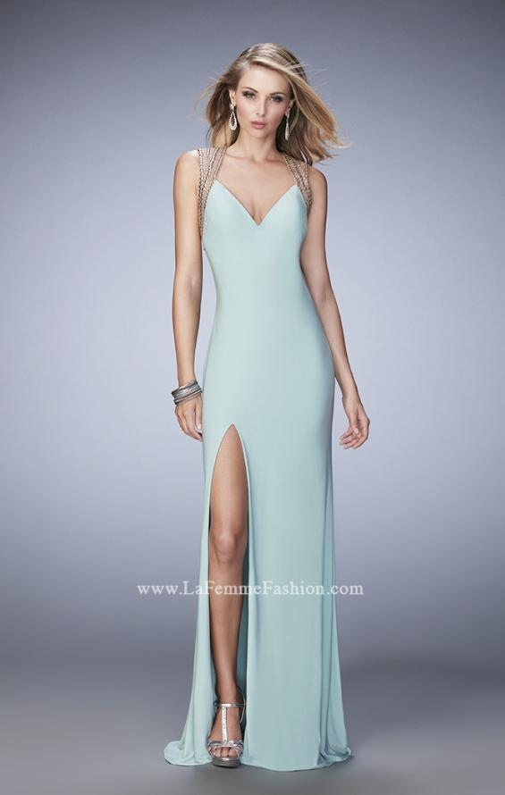 Picture of: V Neckline Prom Dress with Gold Stud Detail and Slit in Blue, Style: 22312, Detail Picture 2
