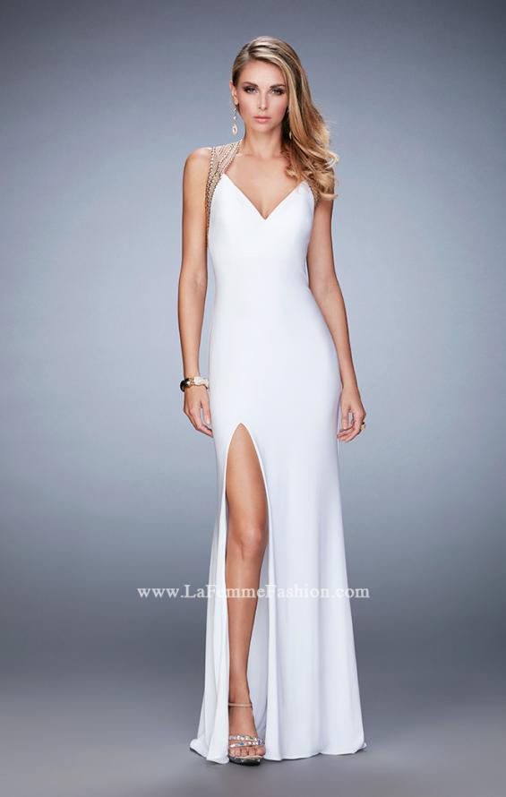 Picture of: V Neckline Prom Dress with Gold Stud Detail and Slit in White, Style: 22312, Detail Picture 3