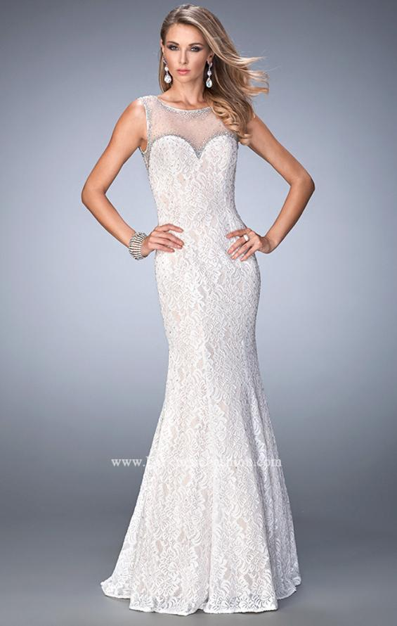 Picture of: Long Lace Prom Dress with Sheer Back and Straps in White, Style: 22314, Main Picture