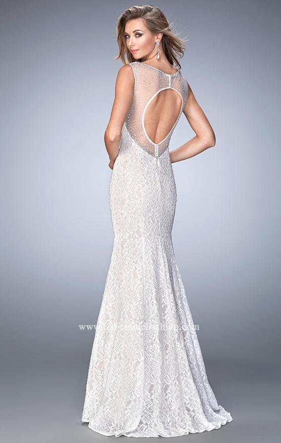 Picture of: Long Lace Prom Dress with Sheer Back and Straps in White, Style: 22314, Back Picture