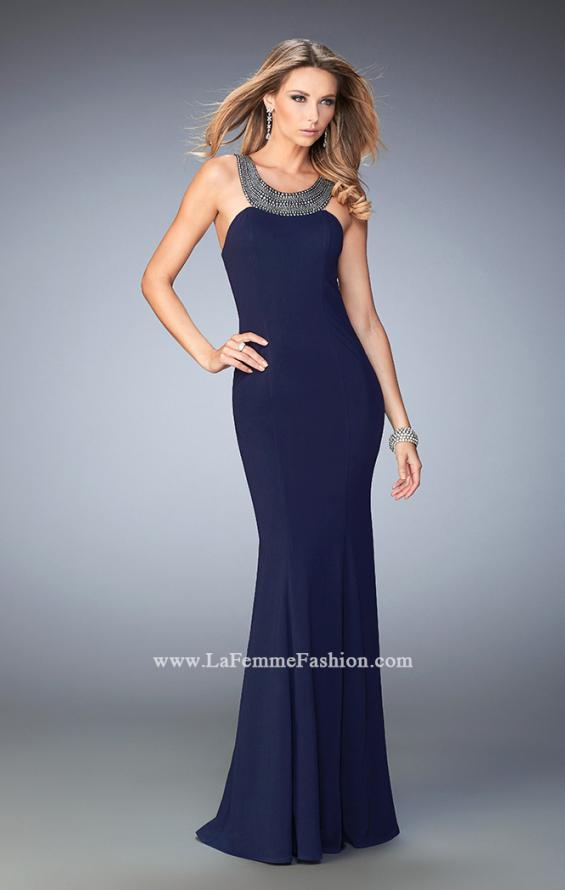 Picture of: Modern Open Back Dress with Silver Stud Detail in Blue, Style: 22315, Main Picture