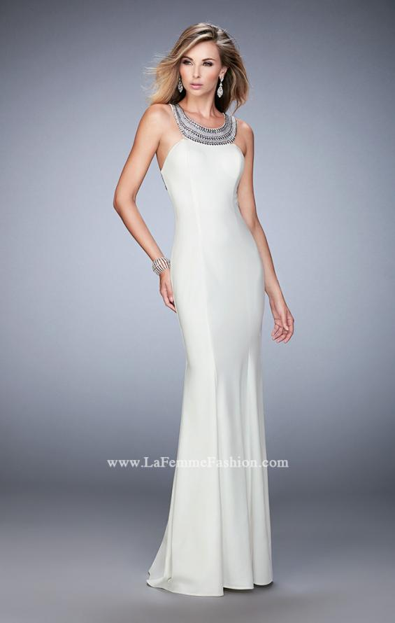 Picture of: Modern Open Back Dress with Silver Stud Detail in White, Style: 22315, Detail Picture 1