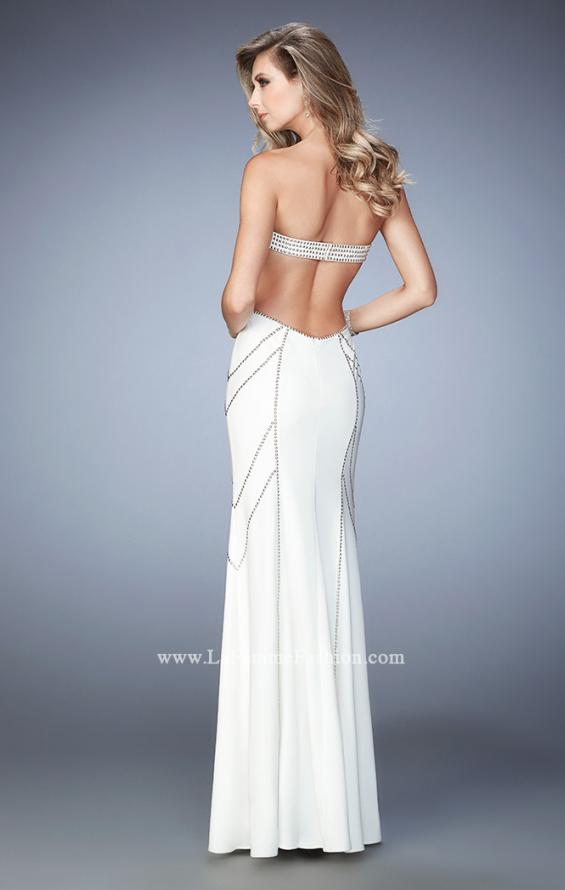 Picture of: Gold Stud Patterned Long Prom Dress with Open Back, Style: 22321, Back Picture