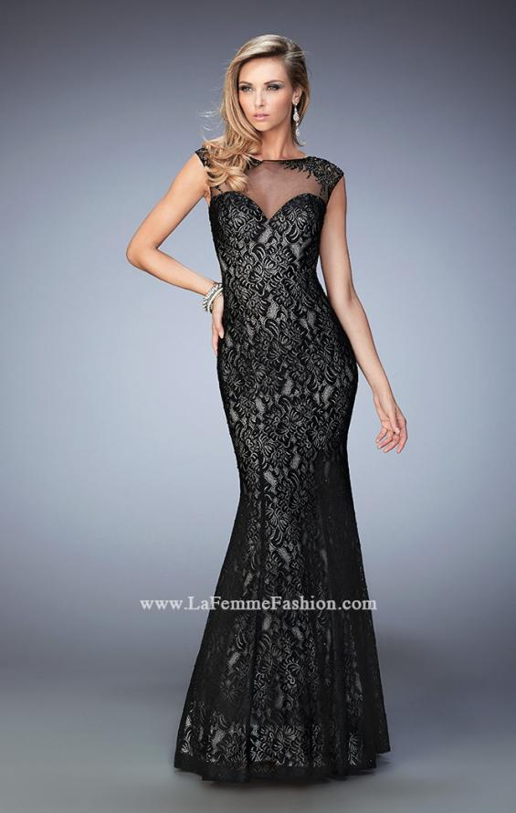 Picture of: Long Lace Mermaid Gown with Black Lace Overlay in Black, Style: 22323, Main Picture