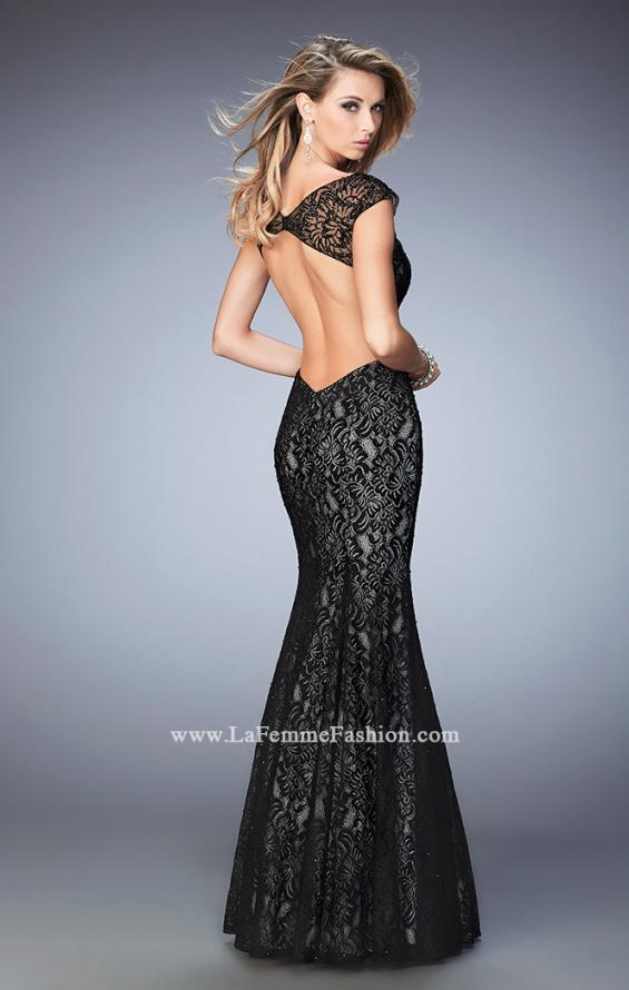 Picture of: Long Lace Mermaid Gown with Black Lace Overlay in Black, Style: 22323, Back Picture