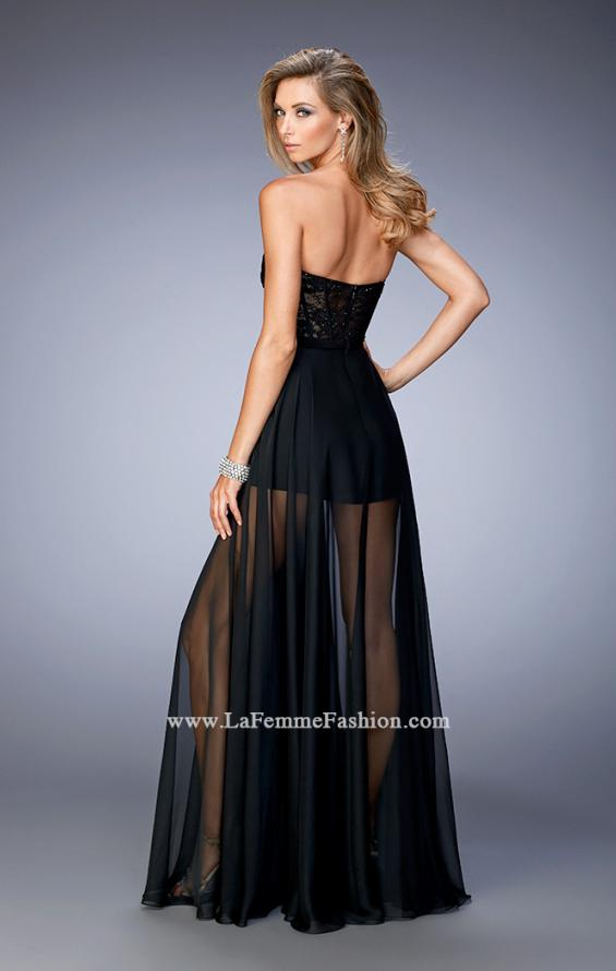 Picture of: Chiffon Prom Gown with Sheer Lace Bodice and Shorts, Style: 22324, Back Picture