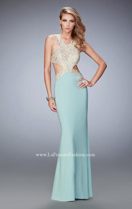 Picture of: Racer Back Jersey Prom Dress with Gold Embroidery, Style: 22325, Main Picture