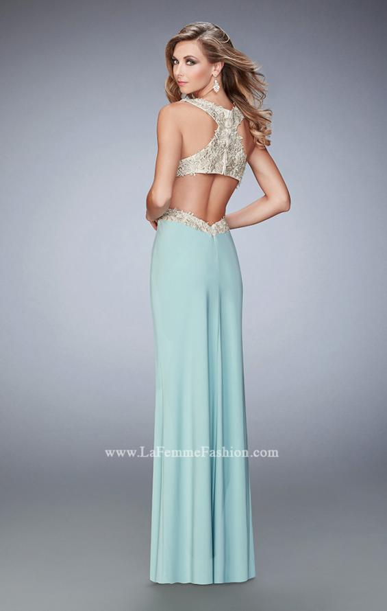 Picture of: Racer Back Jersey Prom Dress with Gold Embroidery, Style: 22325, Back Picture