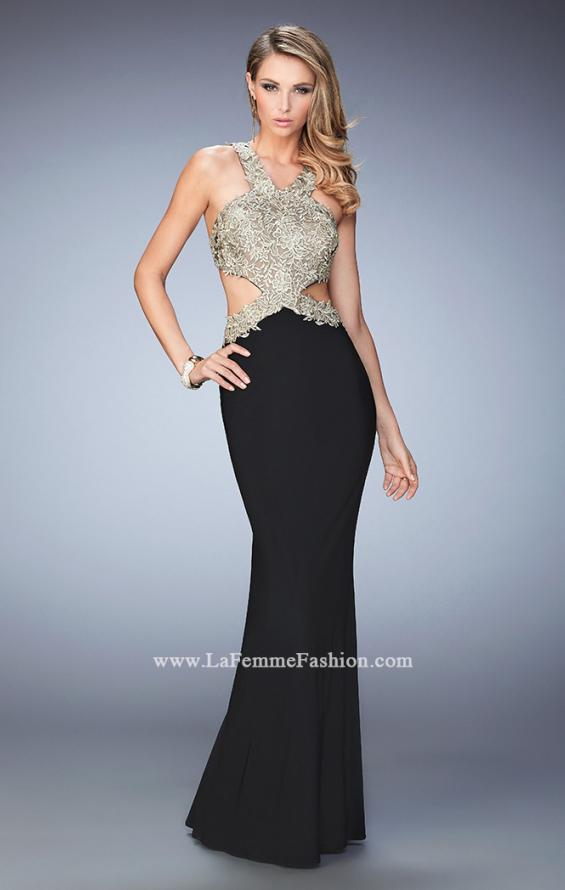 Picture of: Racer Back Jersey Prom Dress with Gold Embroidery, Style: 22325, Detail Picture 1