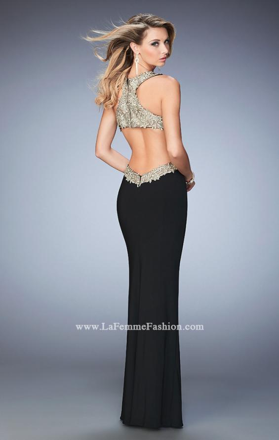 Picture of: Racer Back Jersey Prom Dress with Gold Embroidery, Style: 22325, Detail Picture 2